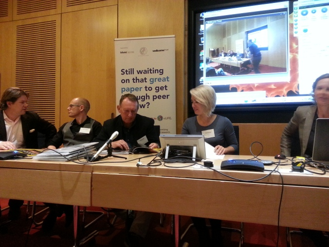 eLife press conference last Thursday. From left to right: Will Harcourt-Smith, Matthew Skinner, Noel Cameron, Alia Gurtov and Tracy Kivell.