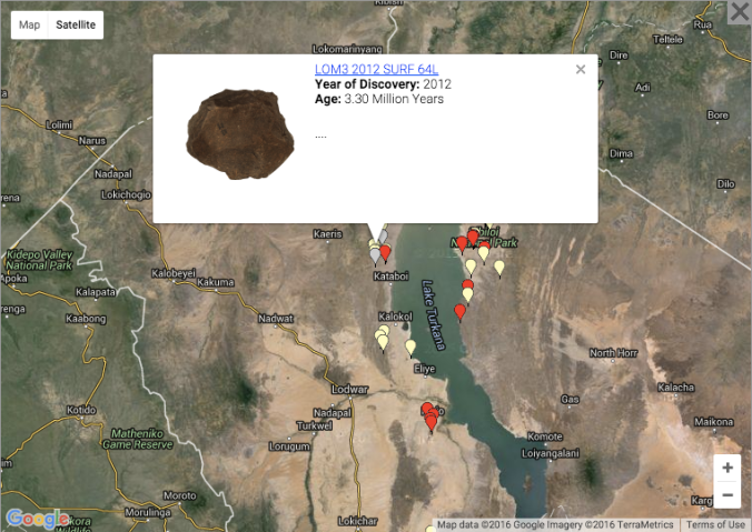 3D scan and geographical location of Lomekwian tools. From africanfossils.org