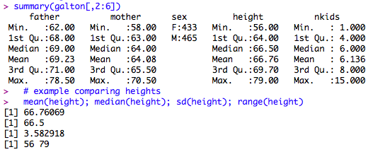 Example of some summary stats for the Galton height data.