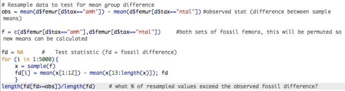 R code for a simple permutation test.